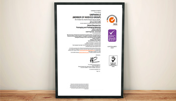 UNIPAKNILE has successfully passed the certification audit for the British Retail Consortium (BRC) global standards for packaging and packaging materials, under the basic hygiene category, earning the highest AA grade.